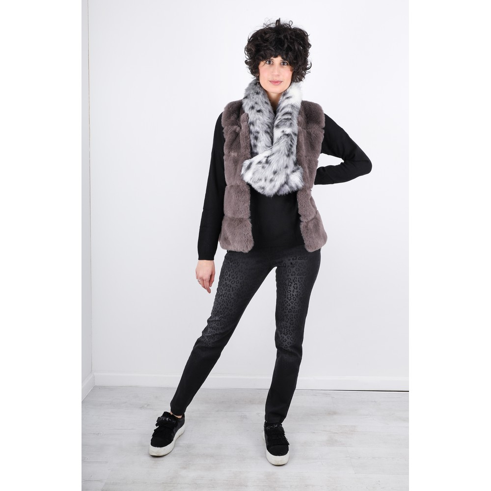 Robell Nena 78cm Animal Print Denim Jeans Dark Grey