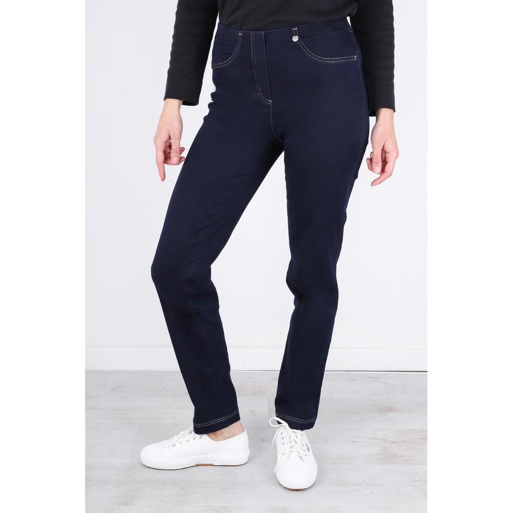 Robell Bella  Navy Contrast Stitch Slim Fit Full Length Jean Navy/Contrast