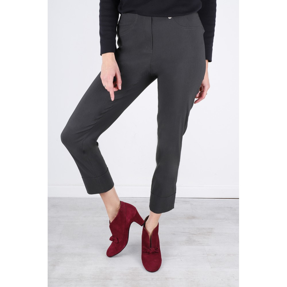 Robell Bella 09 Anthracite Ankle Length Crop Cuff Trouser Anthracite 97