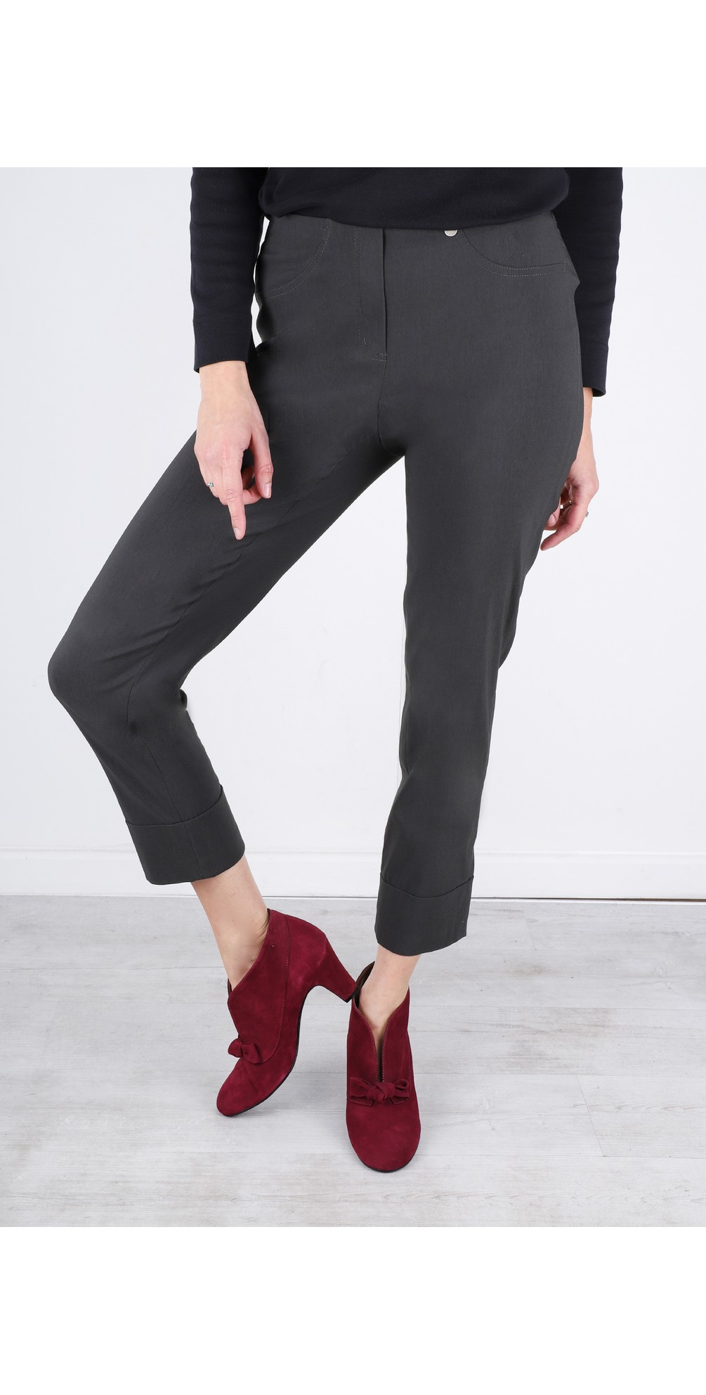 Bella 09 Anthracite Ankle Length Crop Cuff Trouser main image