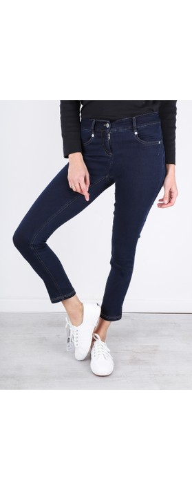 Robell Star 09 Navy Power Stretch Cropped Skinny jean Navy