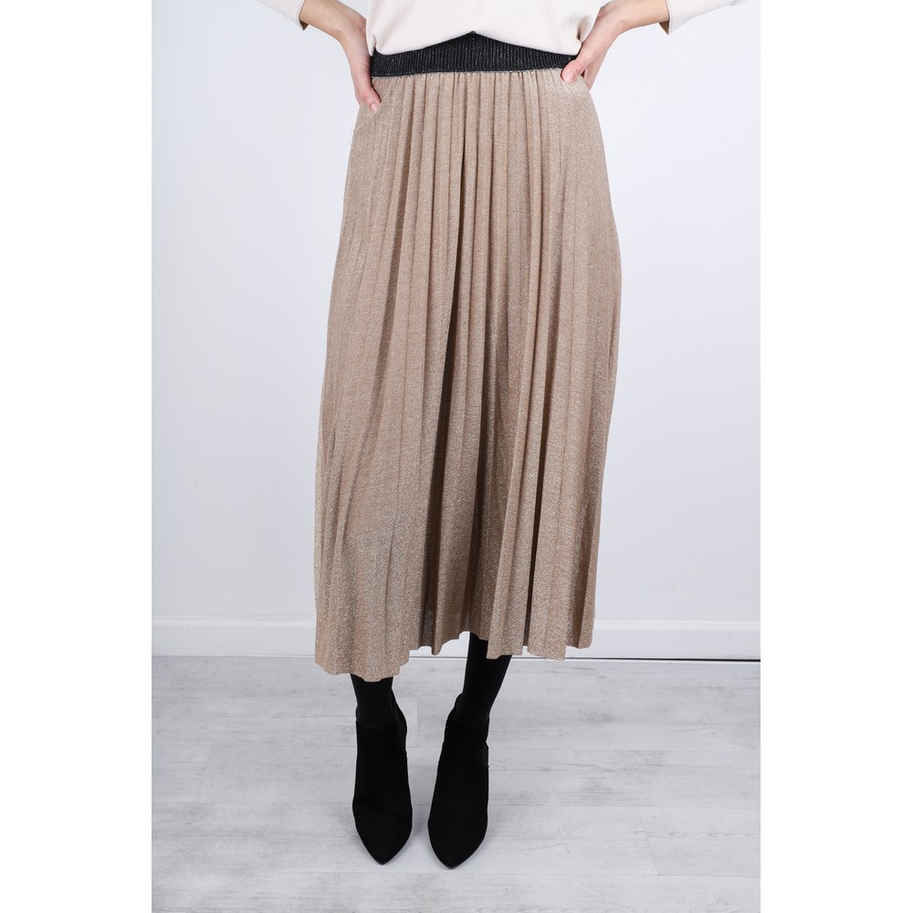 Luella Sparkle Pleated Skirt Gold