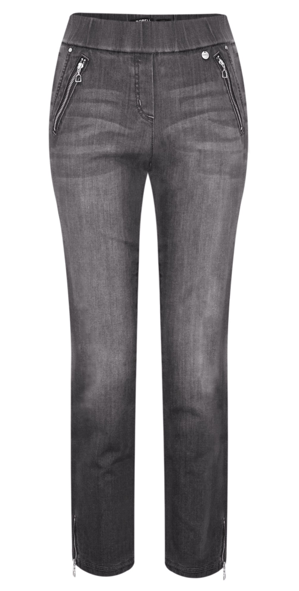 Nena Grey Washed Denim Ankle Zip Cropped Jeans main image
