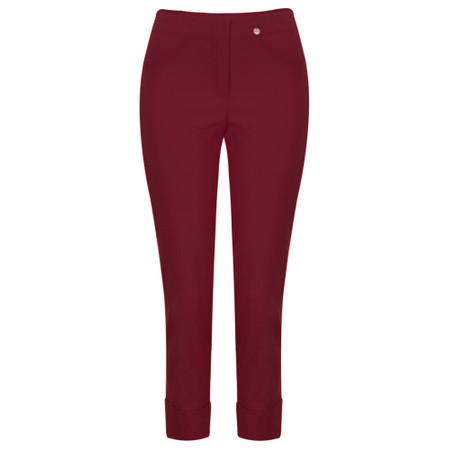 Robell  Bella 09 Dark Red Ankle Length Crop Cuff Trouser - Red