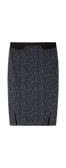 Sandwich Outlet Leopard Jacquard Skirt Graphite