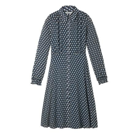 Sandwich Clothing Geometric Cube Print Long Dress - Blue