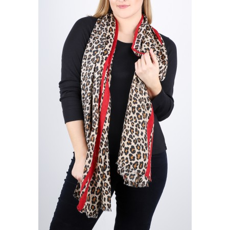 Gemini Label  Leni Leopard Scarf - Red