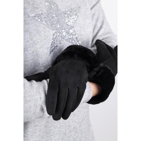 Gemini Label Accessories Nala Fur Trim Gloves - Black