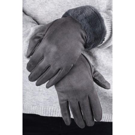 Gemini Label  Nala Fur Trimmed Gloves - Blue