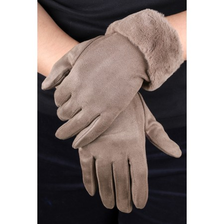 Gemini Label  Nala Fur Trimmed Gloves - Beige