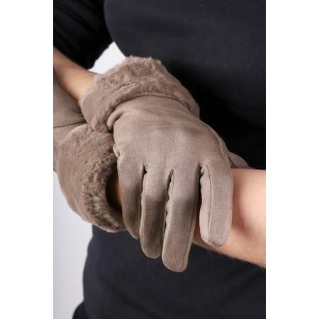 Gemini Label Accessories Nala Fur Trim Gloves - Beige