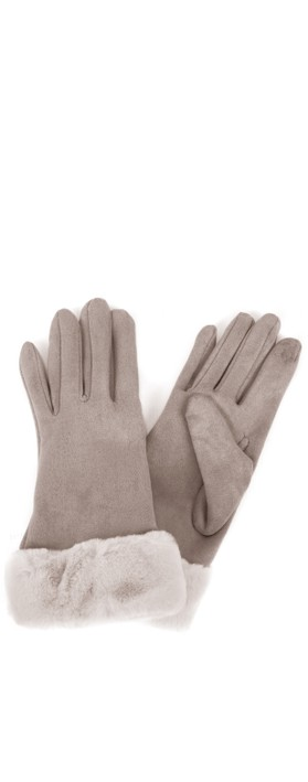 Gemini Label Accessories Nala Fur Trim Gloves Beige