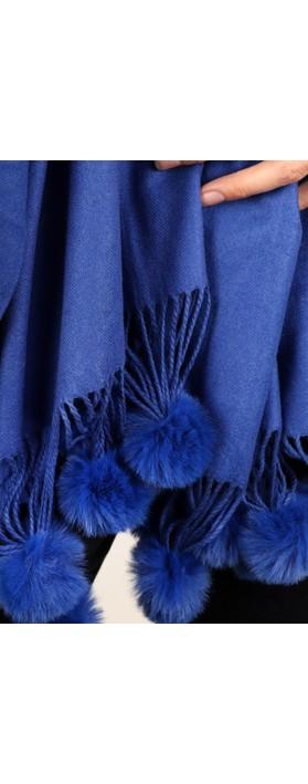 Gemini Label Accessories Penny Pom Shawl Scarf Blue