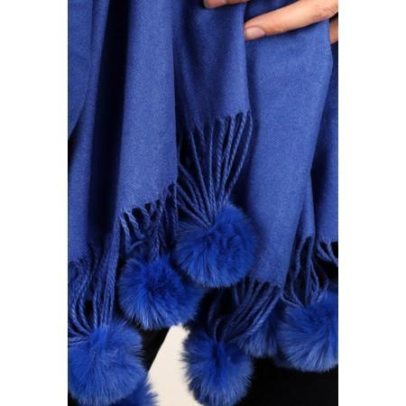 Gemini Label Accessories Penny Pom Shawl Scarf - Blue