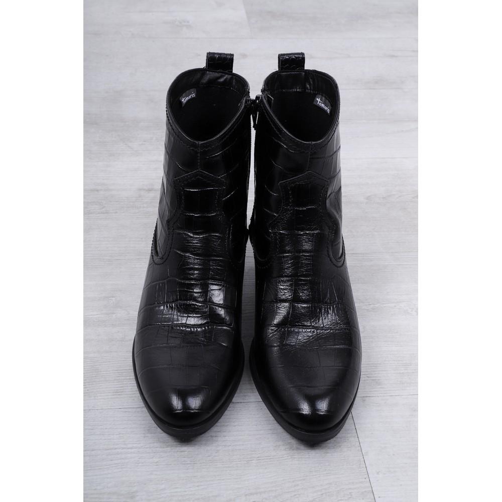 Tamaris  West Croc Print Leather Gaucho Boot Black