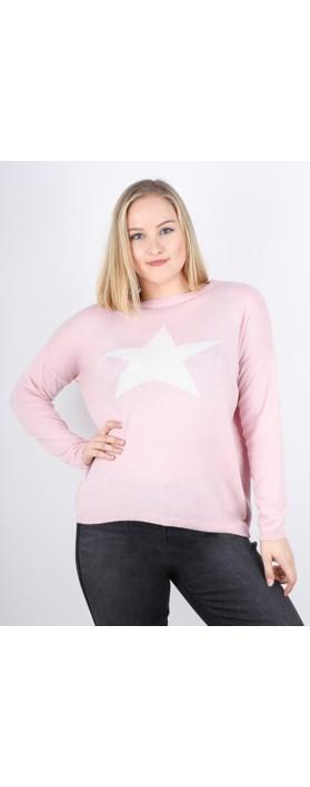 Luella Classic Star Cashmere Blend Jumper Pale Pink / Off White