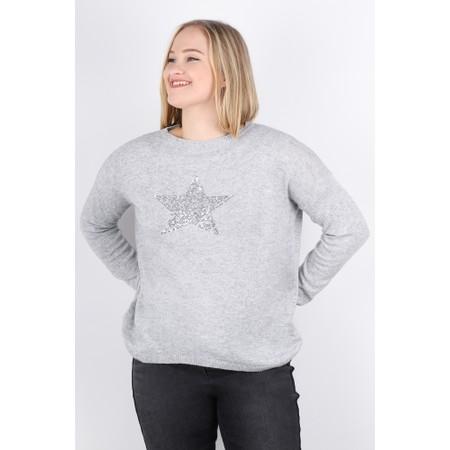 Luella Sequin Star Cashmere Blend Jumper - Grey