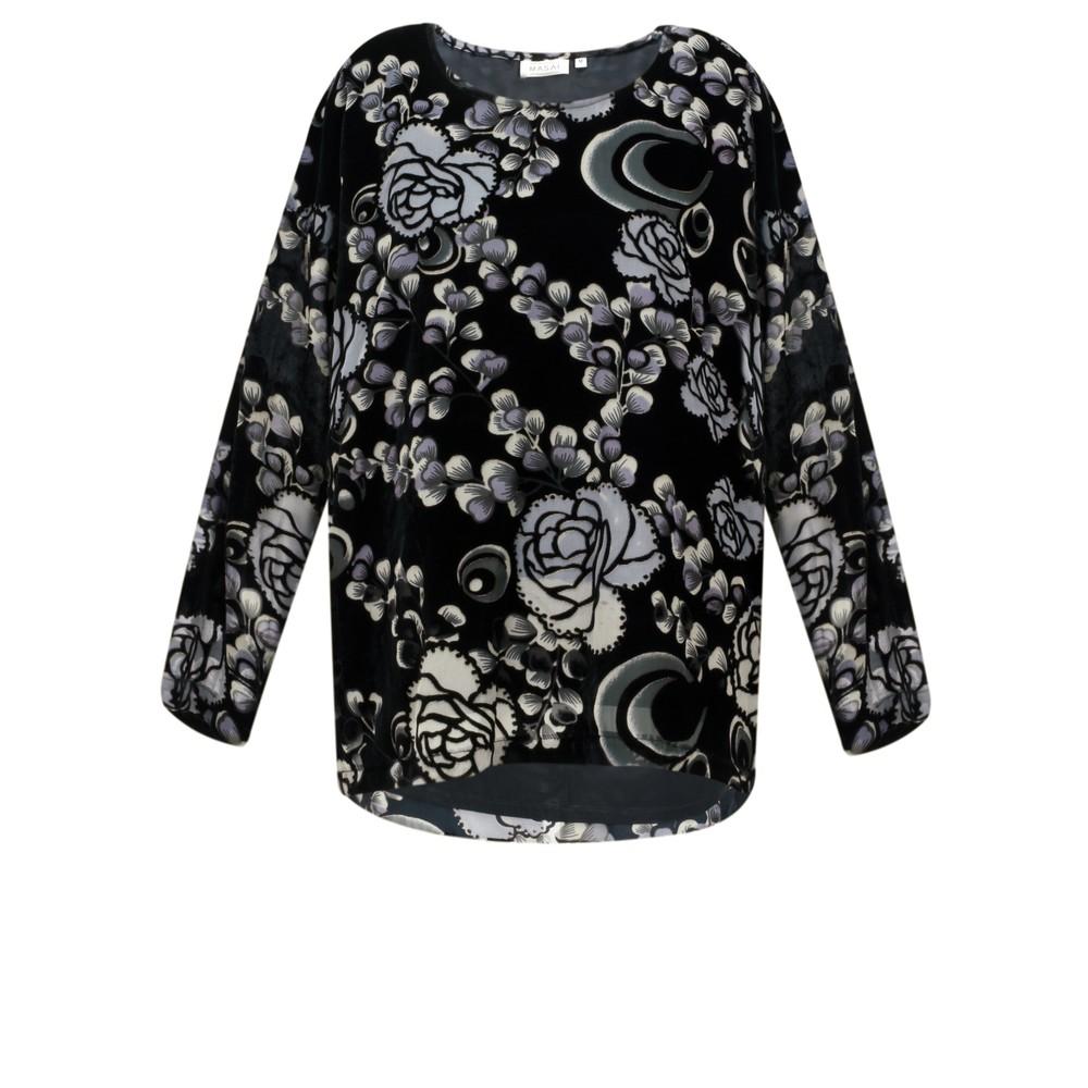 Masai Clothing Bahita Velvet Floral Top Black