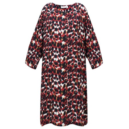 Masai Clothing Nonny Abstract Animal Piint Dress  - Red
