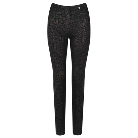 Robell  Rose Animal Shadow Print Trouser - Black
