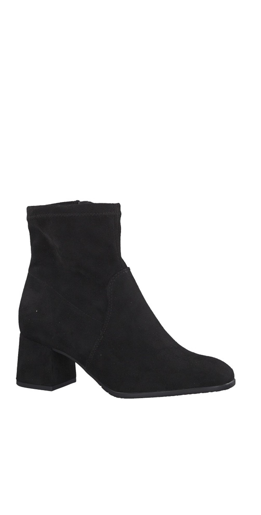 Black Nadda Stretch Ankle Boot Block Heel