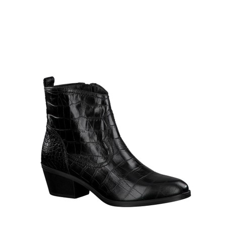 Tamaris  West Croc Print Leather Gaucho Boot - Black