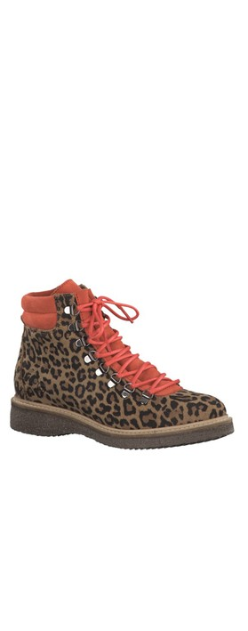 Tamaris  Castanha Leo Print Leather Hiker Boot Leo/Fire