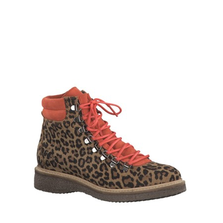 Tamaris  Castanha Leo Print Leather Hiker Boot - Multicoloured