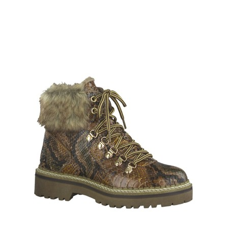 Tamaris  Adalena Snake Print Tex Hiker Boot  - Brown