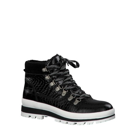 Tamaris  Colonia Croc Leather Hiker Boot  - Black