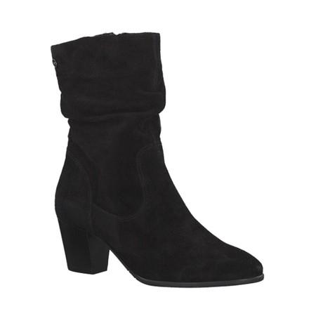 Tamaris  Juna Suede Ruched Boot - Black