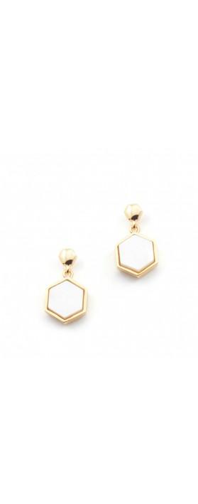 Bill Skinner Hexagon Stud Earrings Mother Of Pearl