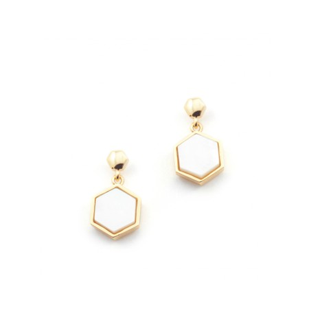 Bill Skinner Hexagon Stud Earrings - Metallic