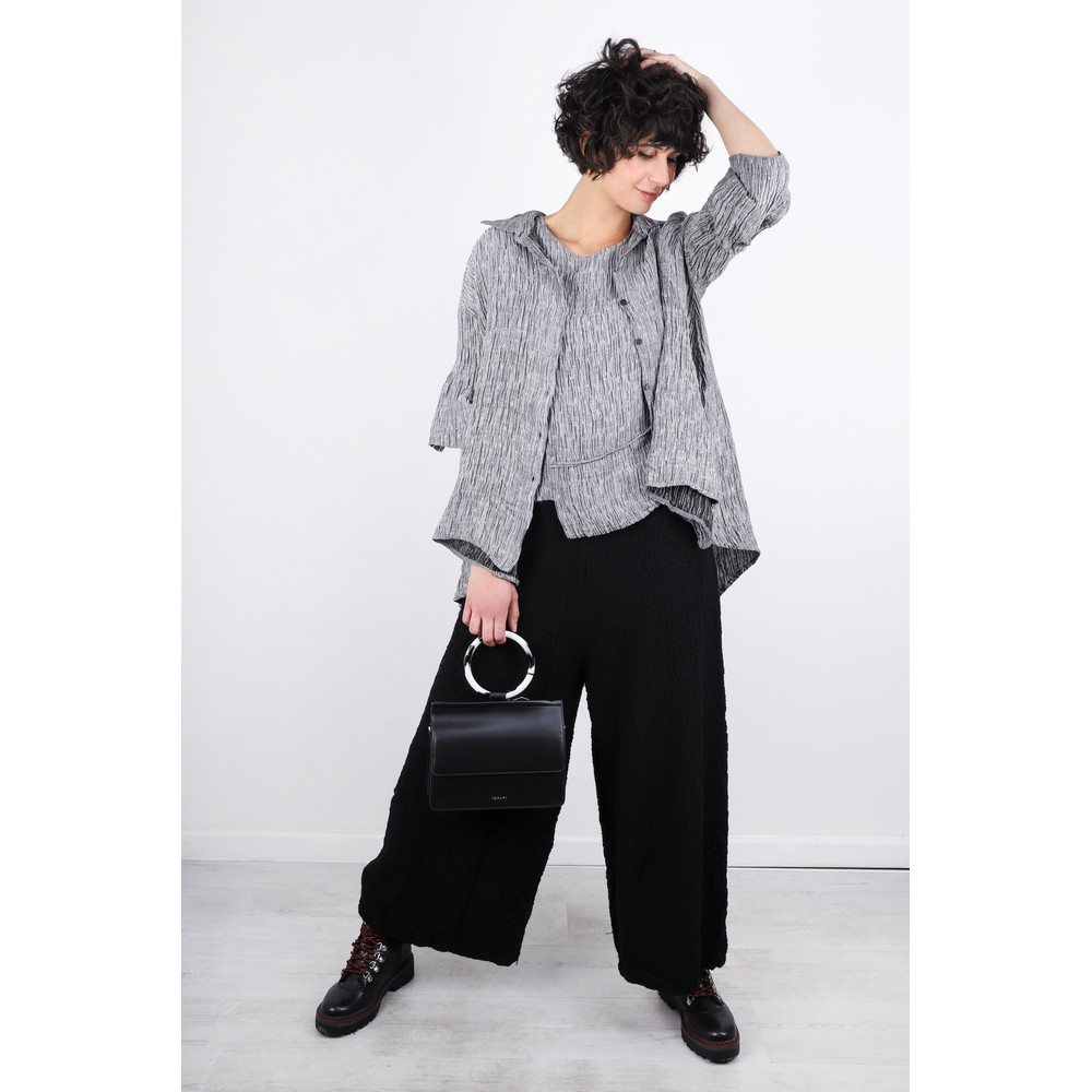 Grizas Niki Wide Leg Wool Trouser  Black