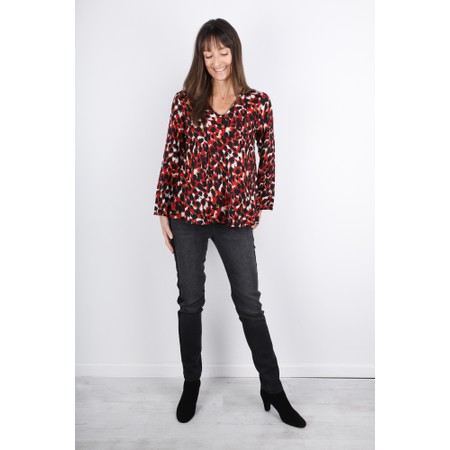 Masai Clothing Kala Abstract Animal Print Top - Red