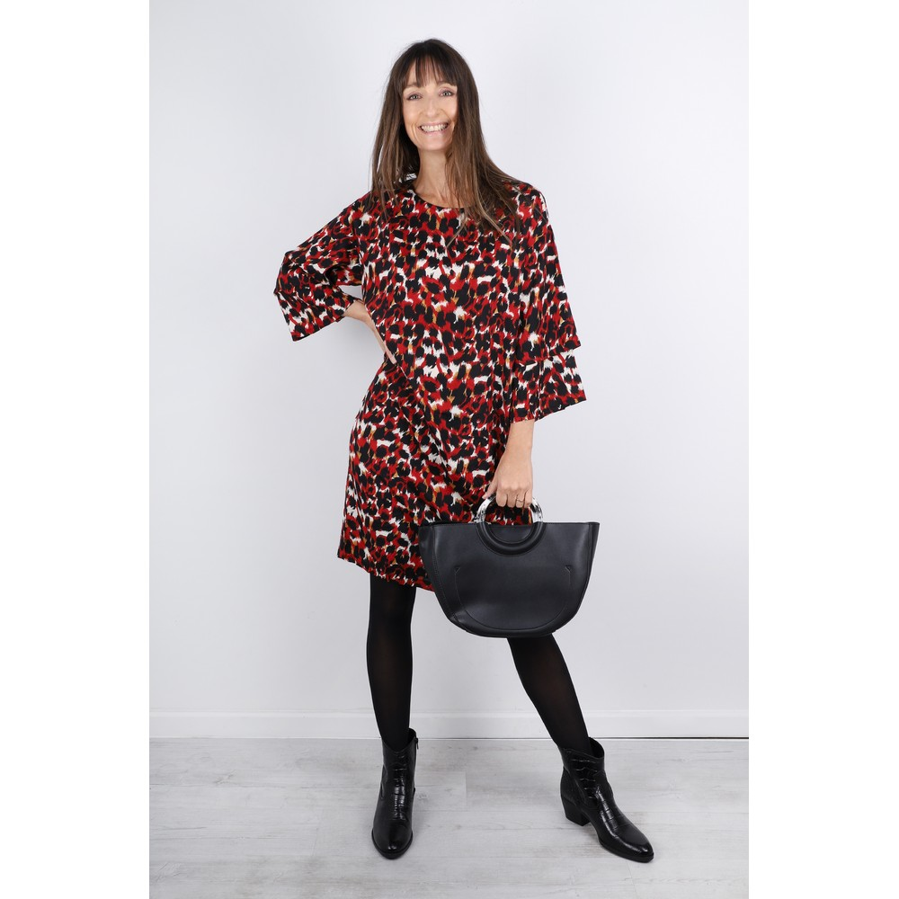 Masai Clothing Nonny Abstract Animal Piint Dress  Rio Red