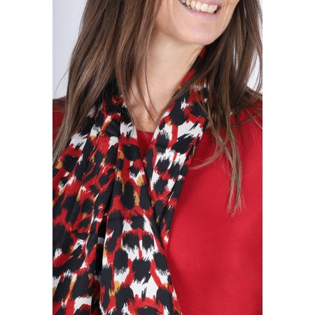 Masai Clothing Along Abstract Animal Print Scarf - Red