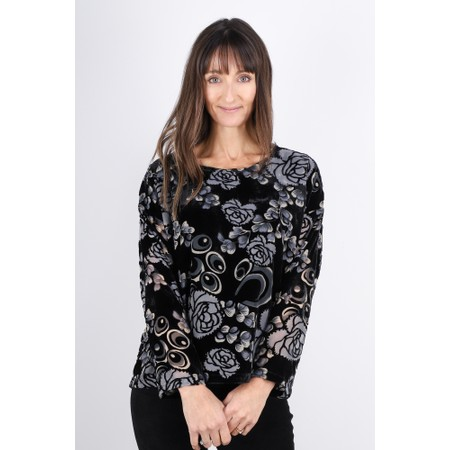 Masai Clothing Bahita Velvet Floral Top - Black