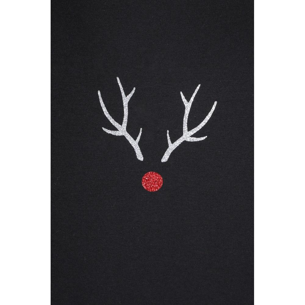 Chalk Tasha Reindeer Top Black / Silver