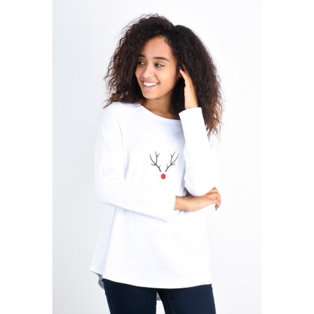 Chalk Tasha Reindeer Top - White