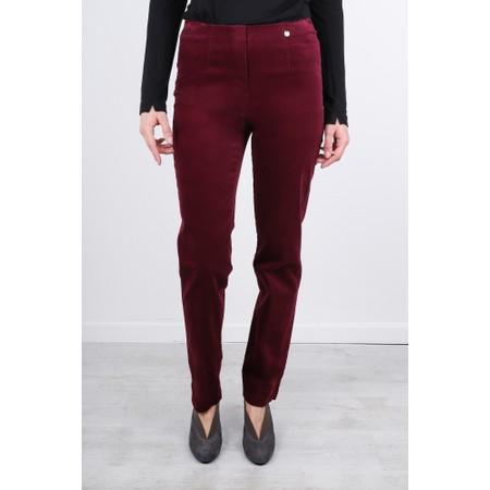 Robell  Marie Stretch Cotton Velvet Slim Full Length Trouser - Purple