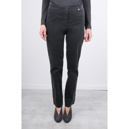Robell  Marie Stretch Cotton Velvet Slim Full Length Trouser - Grey