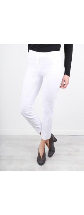 Robell Rose 09 White Ankle Length Jacquard Slimfit Trouser White