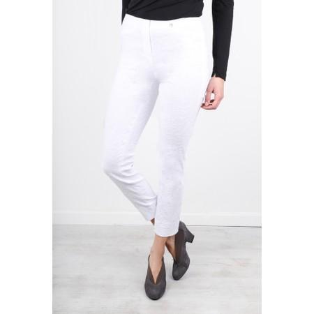 Robell Rose 09 White Ankle Length Jacquard Slimfit Trouser - White
