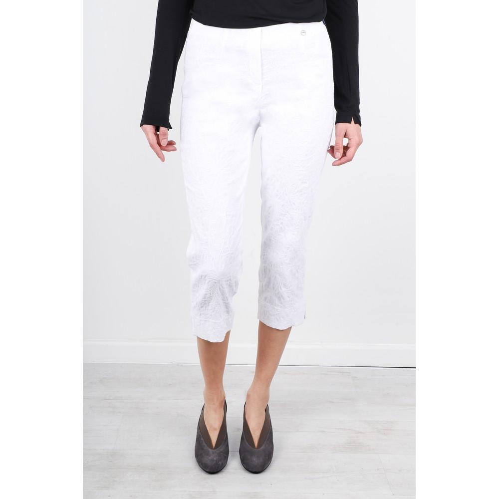 Robell Marie 07 White Jacquard Crop Trouser White