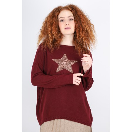 Luella Sequin Star Cashmere Blend Jumper - Red