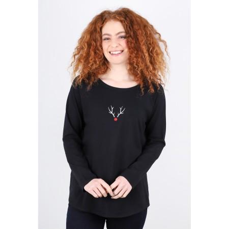Chalk Tasha Reindeer Top - Black