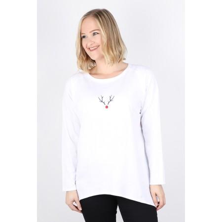 Chalk Robyn Reindeer Top - White