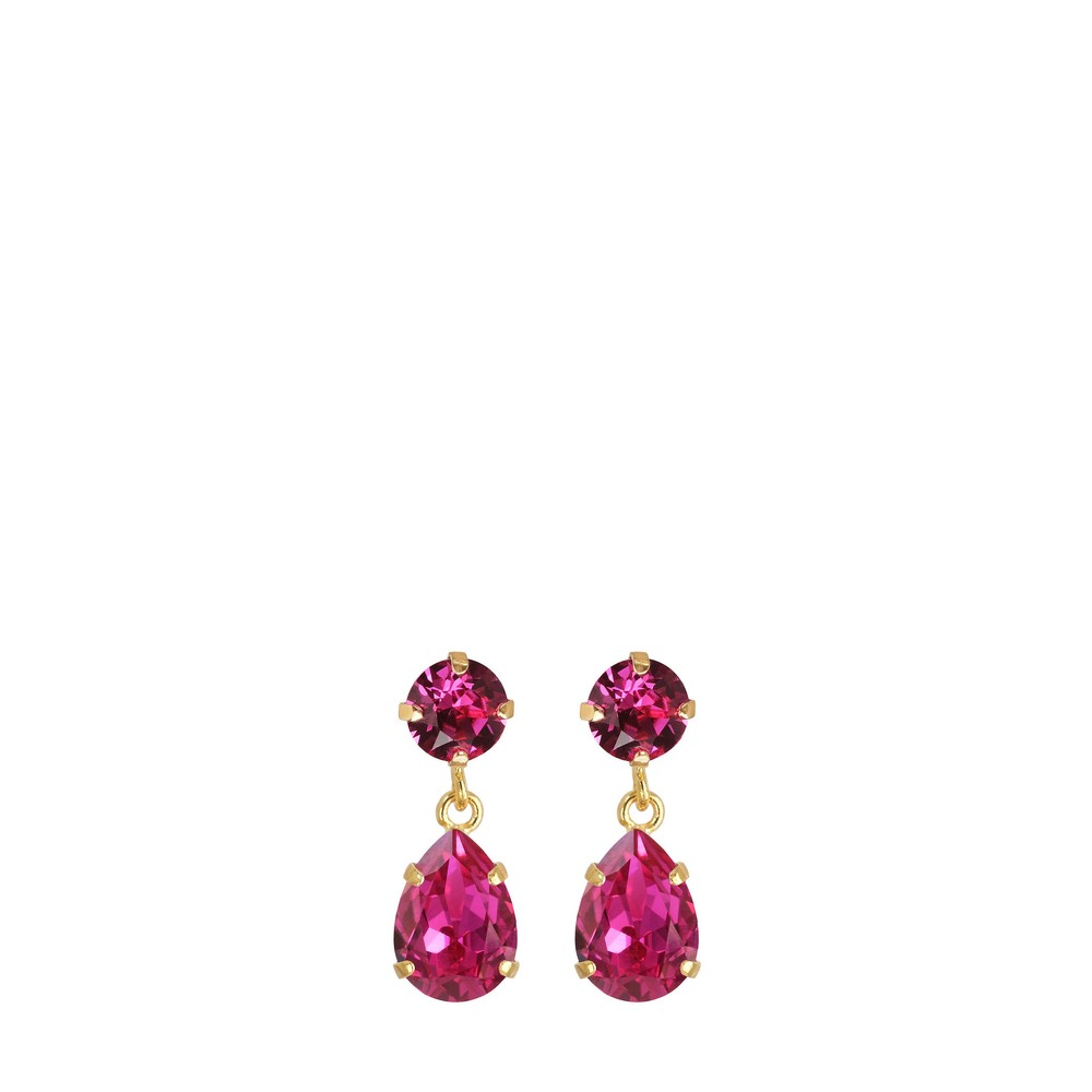 Caroline Svedbom Mini Drop Earring Fuchsia / Gold