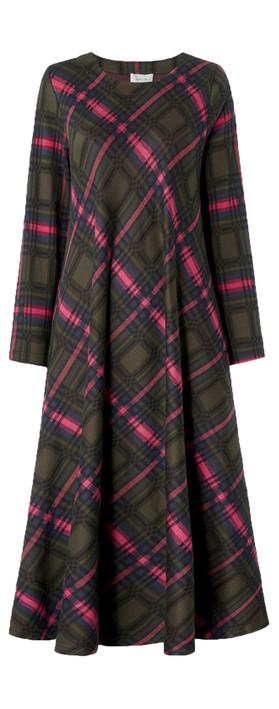 Sahara Plaid Jersey Flared Dress Multi